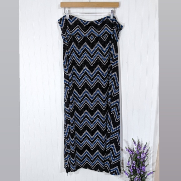 new directions Dresses & Skirts - New Directions Woman Blue Chevron Maxi Skirt 2X